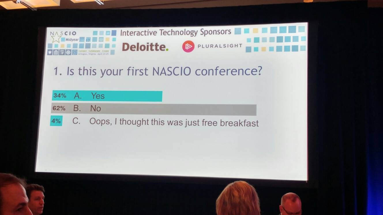 Looks like I am in the minority as a first time visitor to #NASCIO17 https://t.co/iEVRpVpfyr