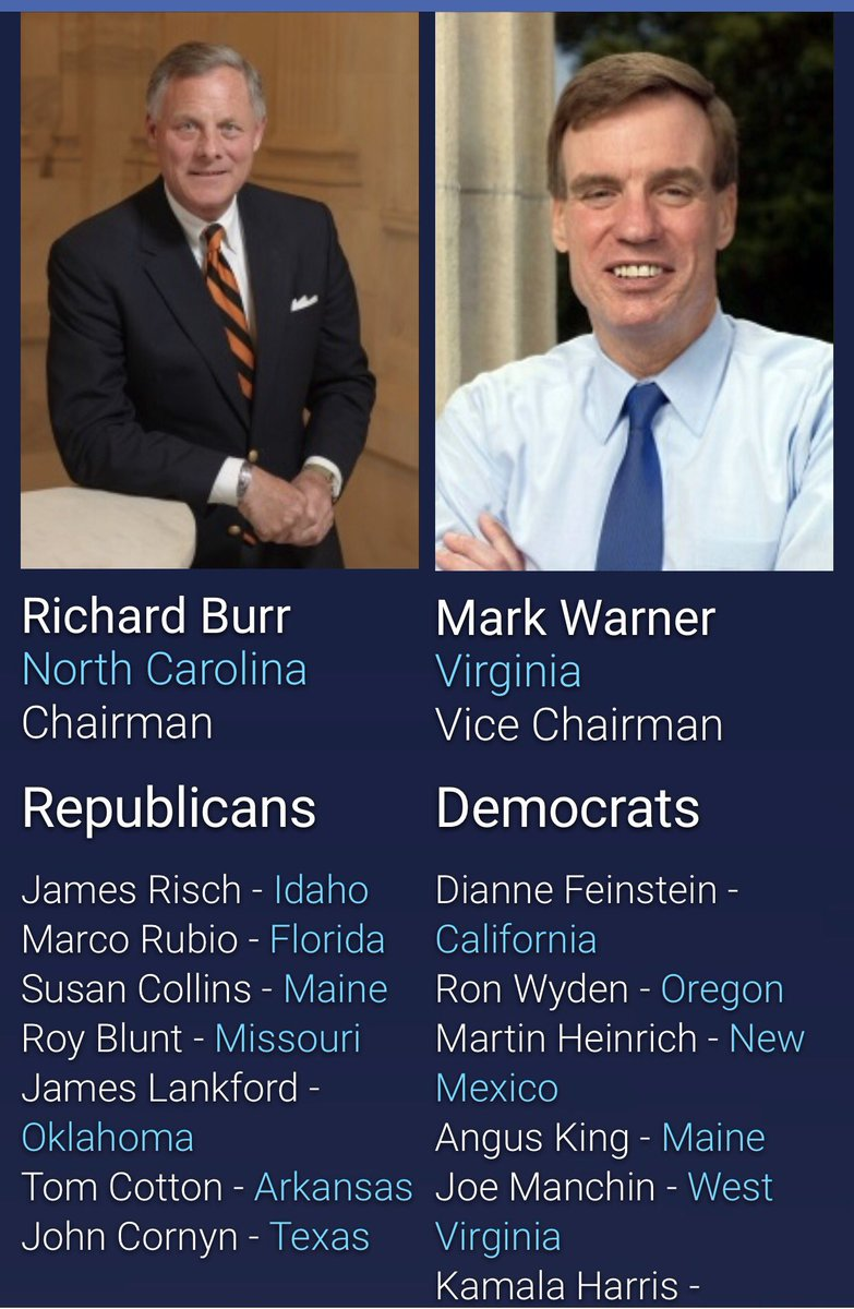 Here are the members of the Senate Intelligence Committee. Please call and demand Sen Burr recuse himself! Phone #s:  https://www. intelligence.senate.gov / &nbsp;  <br>http://pic.twitter.com/SU940fNvG3