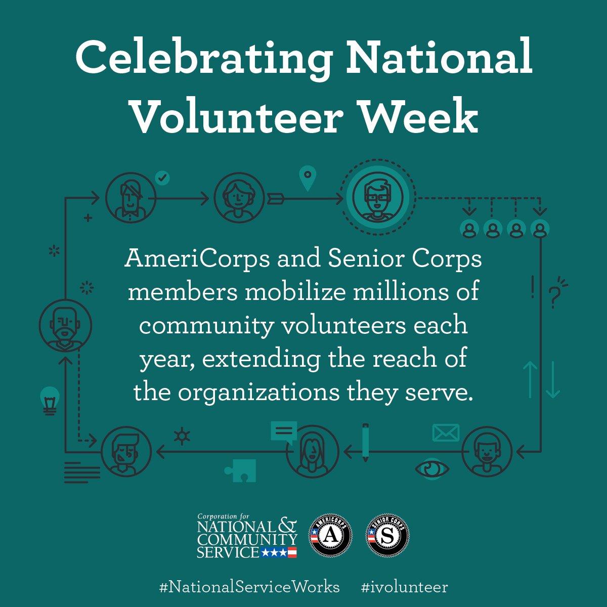 It's National Volunteer Week! @AmeriCorps members serve as powerful catalysts for community engagement. #ivolunteer #NVW #AmeriCorpsWorks https://t.co/tQjNfjVs81