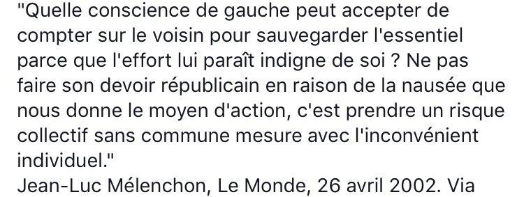Rappelons aux insoumis du #SansMoiLe7Mai la déclaration de @JLMelenchon, 26 avril 2002. https://t.co/Wm4t1Ud3MZ