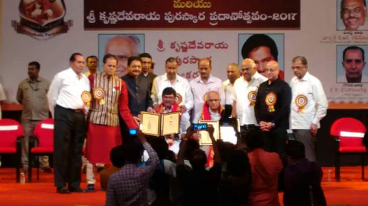 Krishnadevaraya Award being conferred to #Bhyrappa !