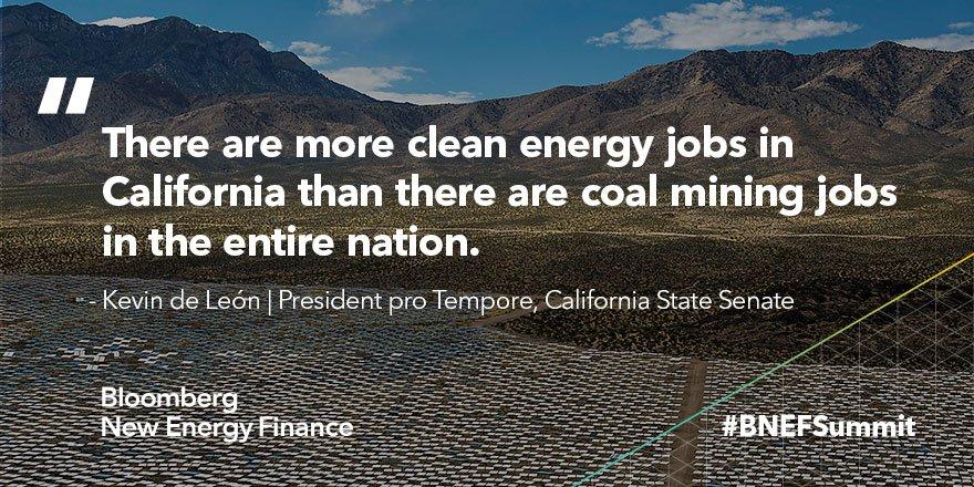 Overheard at #BNEFSummit from @kdeleon, leader of the California Senat...