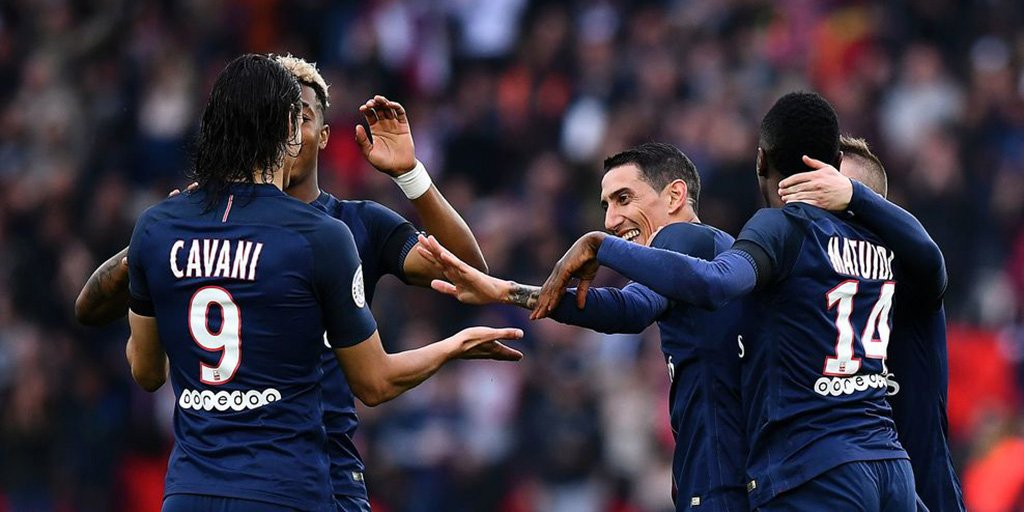 #Cavani and #DiMaria both on target as @PSG_English beat @MontpellierHSC 2-0 to level on points with leaders @AS_Monaco_EN  #PSGMHSC #Ligue1<br>http://pic.twitter.com/7ZEkQ9xGPt