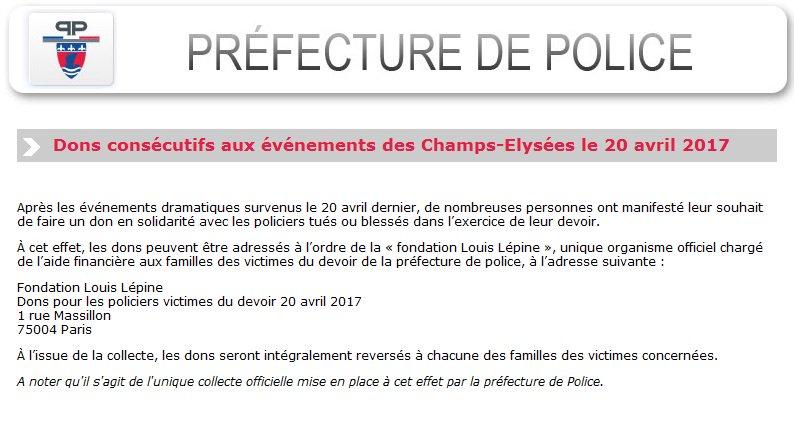 Vous souhaitez faire un don suite aux événements des #ChampsElysees, voici la démarche à suivre : https://t.co/JijtX6lGsF