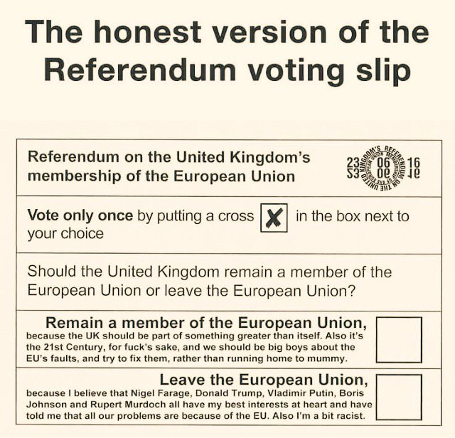 The honest version of the #EU #referendum voting slip...  #brexit #Ukip #farage #trump #putin #GE2017  #lepen #tories<br>http://pic.twitter.com/BdP11VsHFy