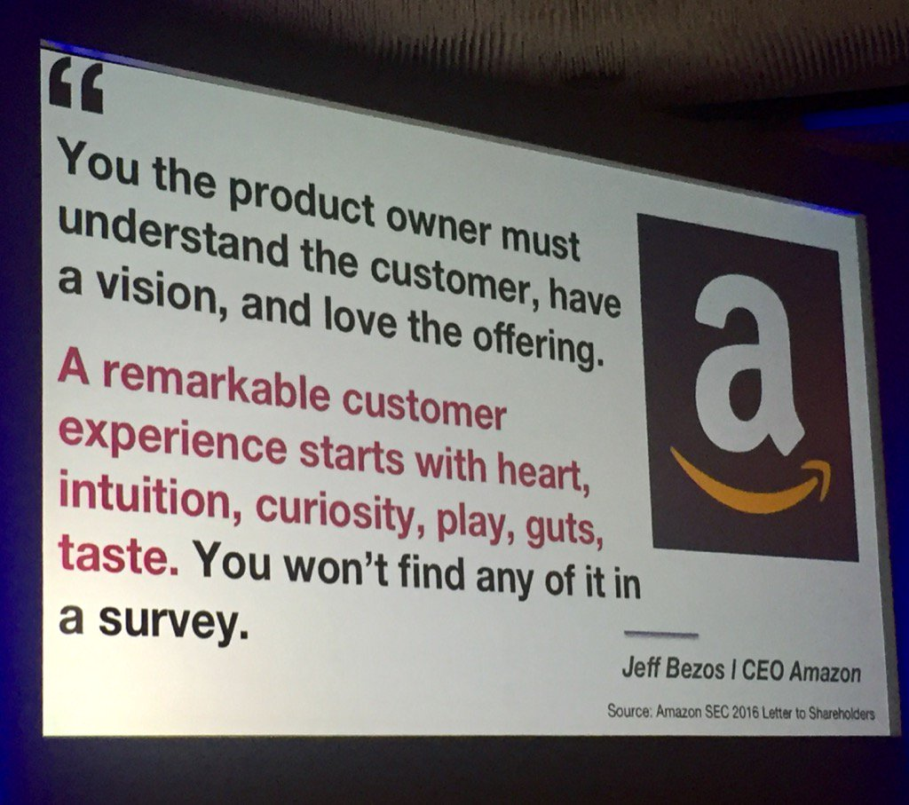 "Bezos on customer experience. ""You won't find it in a survey."" https://t.co/YuDNRgWwCC"