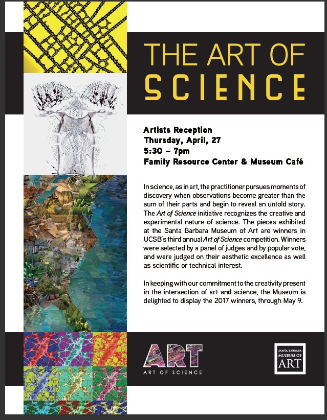 Art of Science 2017 Artists Reception 4/27/17 5:30-7pm @sbmuseart @UCSB #FreeThursdayEvening #Science #Art #Beauty #Learn #Appreciate<br>http://pic.twitter.com/S12ToyzrGJ