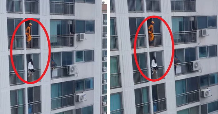 Firefighter saves a suicidal woman with one powerful kick in the stomach