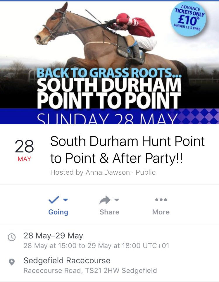 South Durham Hunt p2p @SedgefieldRace 28th May 1st race 15:00 Food-Drinks-Entertainment £10 entry @Point2PointAuth @YorkshireP2P #share <br>http://pic.twitter.com/i931c220kb