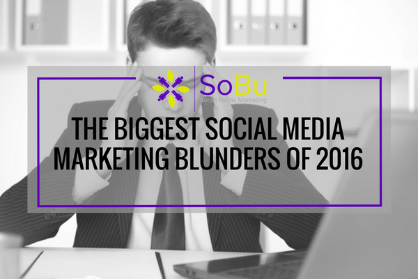 Take a look back at some Social Media Marketing mistakes and what we can learn from them.   http:// bit.ly/SoBuSocialMedi aMistakes2016 &nbsp; …   #SocialMedia #SMM<br>http://pic.twitter.com/m8Tg2qV7SP