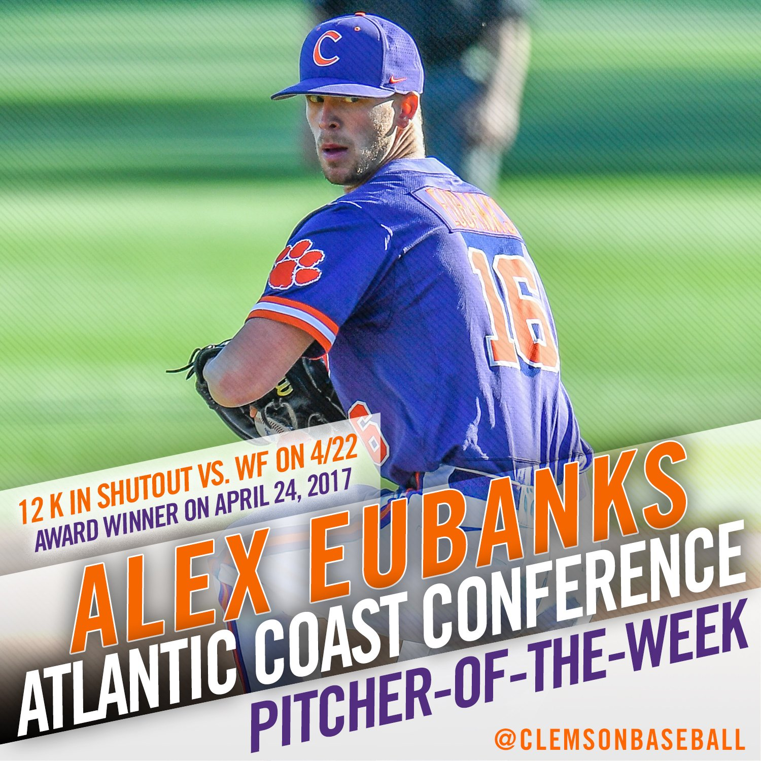 Eubanks named ACC Pitcher-of-the-Week for 2nd time in 2017 & 3rd time in his career.  STORY: https://t.co/9spCKf4yBa https://t.co/QD6LgajH2q