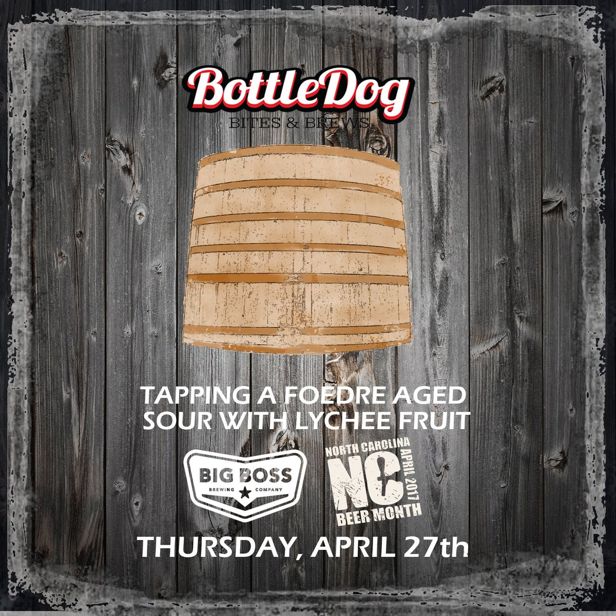 Join us Thursday 4/27 @DottleDogCary as we host @bigbossbeer and this special cask @NCBeerMonth @WRALOutandAbout #youredoinggreat #poutine <br>http://pic.twitter.com/7dWcFLq89t