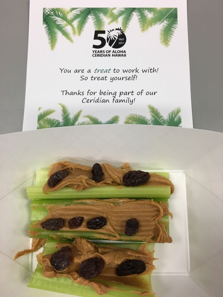 Happy Monday! Healthy kick start with yummy Ants on a Log snack drops! 50th Anniversary celebration #ceridianhawaii50 https://t.co/IjvYrbxcwD