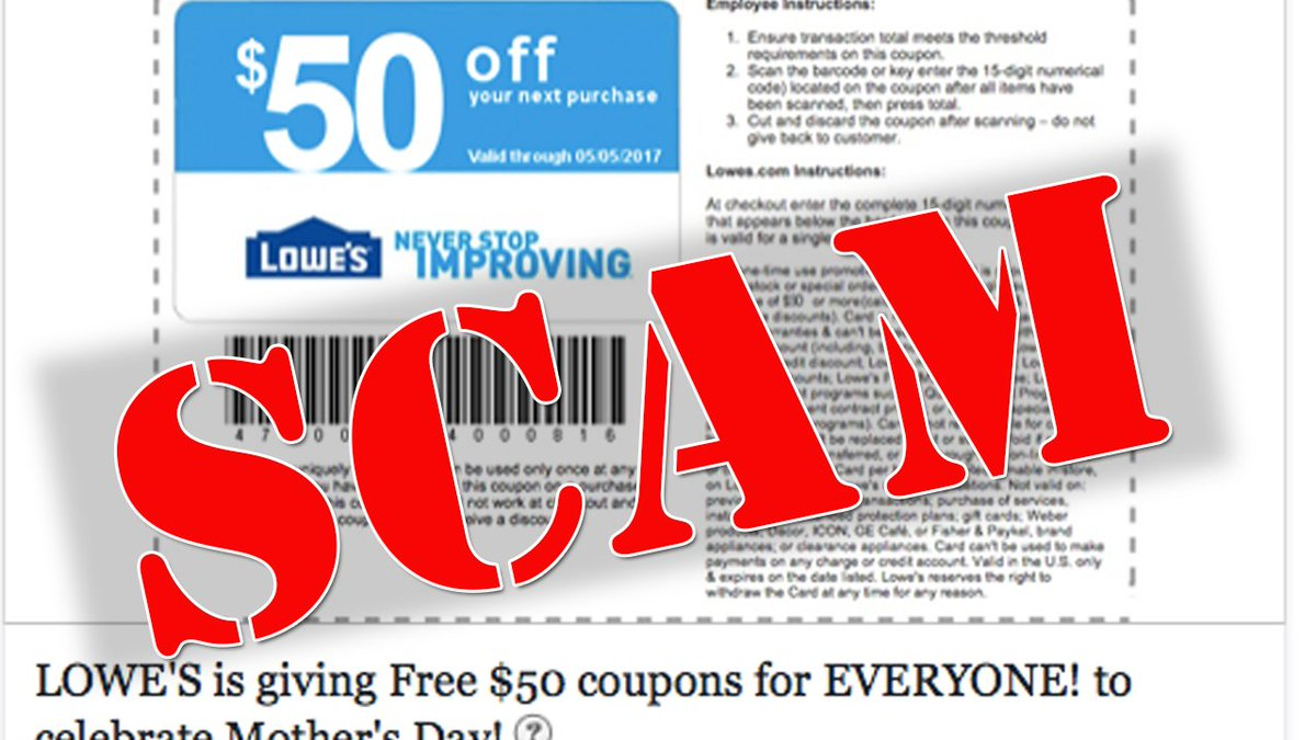 Facebook: PHISHING SCAM: Facebook post claims to be Lowe's