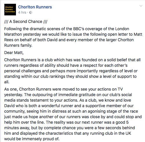 Seriously, @chorltonrunners , you have such class. My eyes are welling up a bit. https://t.co/5vOyO3hI6A