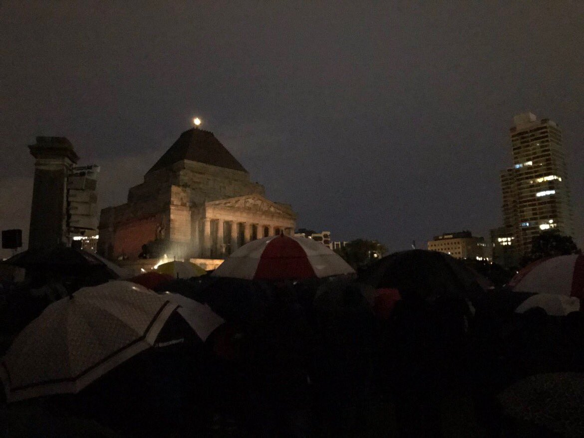 A wet #AnzacDay in Melbourne . Rain hail or shine #LestWeForget https:...