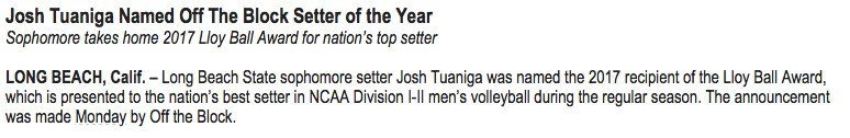 Setter Josh Tuaniga of @LBSU_MVball has been named nation's top setter. #lbsu https://t.co/md1twYdJCF