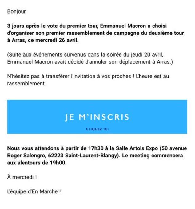 #Macron fera son premier meeting d'entre-deux-tours demain soir à Arras. (Annulé vendredi dernier suite à l'attentat des Champs-Elysées)