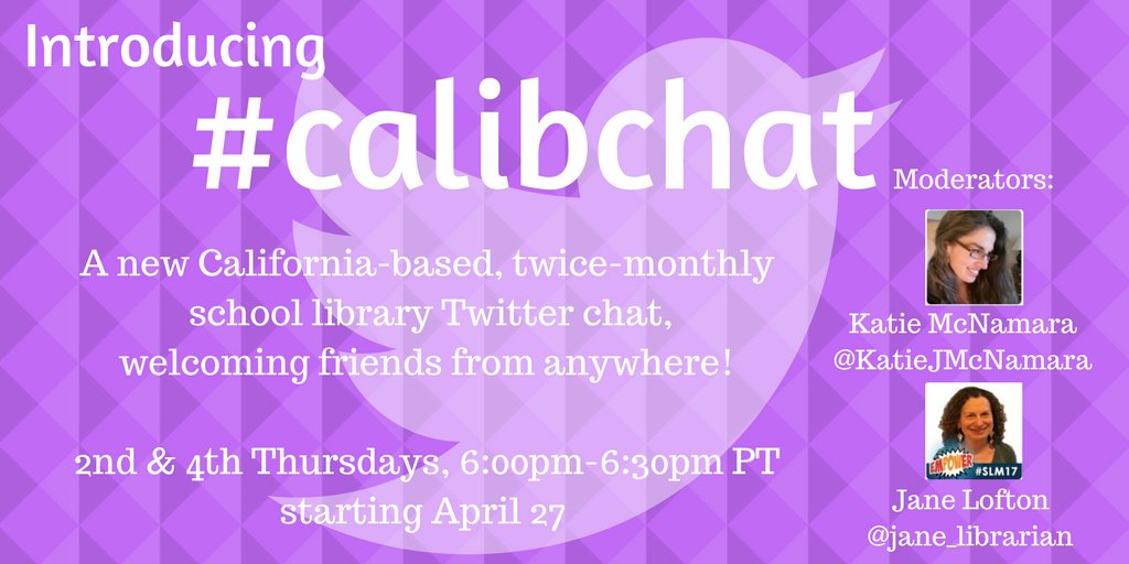 Excited for first #calibchat with @jane_librarian !! All are welcome! #4csla #tlchat #mwlibchat #njlibchat https://t.co/gBVCDiJvGi