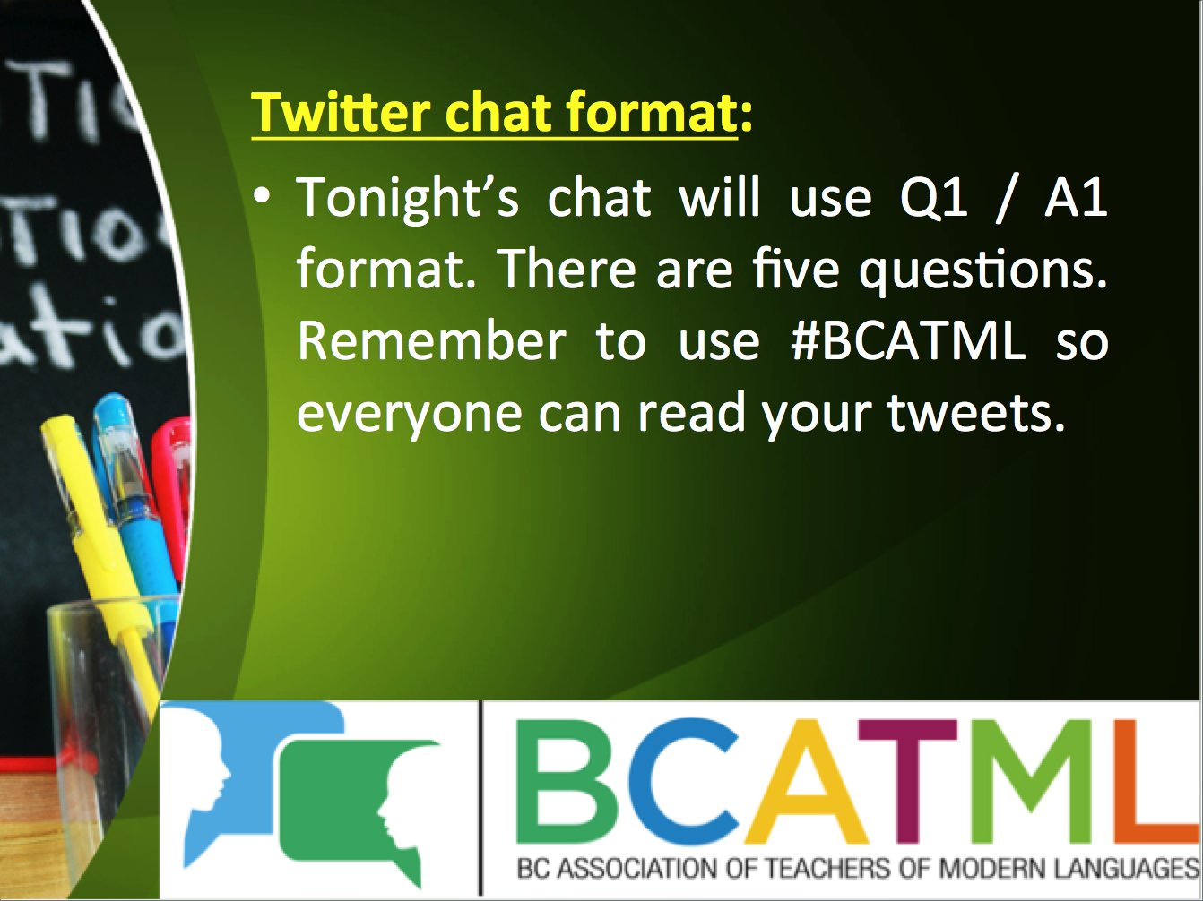 Tonight's chat will use Q1 / A1 format. There are five questions. Remember to sue #BCATML so we can all read your tweets! https://t.co/0qfhS2on4U
