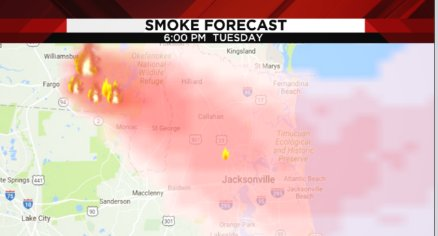 Smoky Nights Ahead In Jacksonville As West Mims Fire In Okefenokee