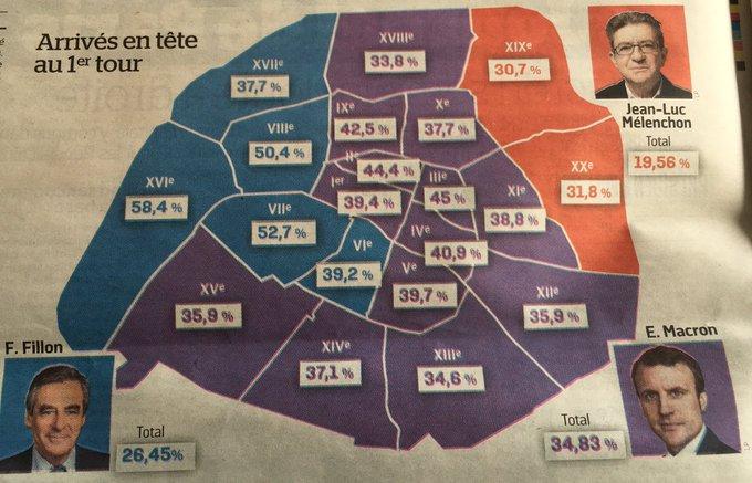 58,4% pour Fillon. Ah, le 16ème arrondissement... (Carte du Parisien)