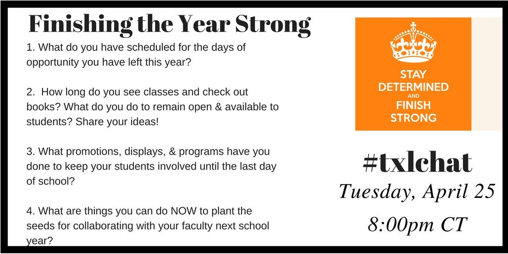 Join #txlchat on Tuesday night at 8:00 CT and share your ideas and plans with us. https://t.co/SI1RvFfn0v
