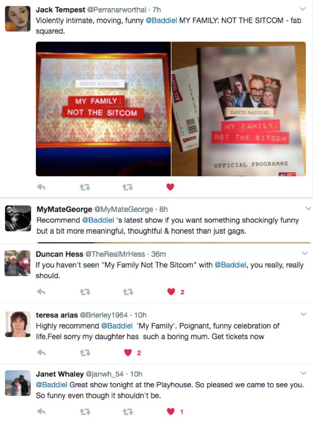 And now, some messages from my sponsors. Or at least, people who paid to see me last night. https://t.co/2rht6DQTCR
