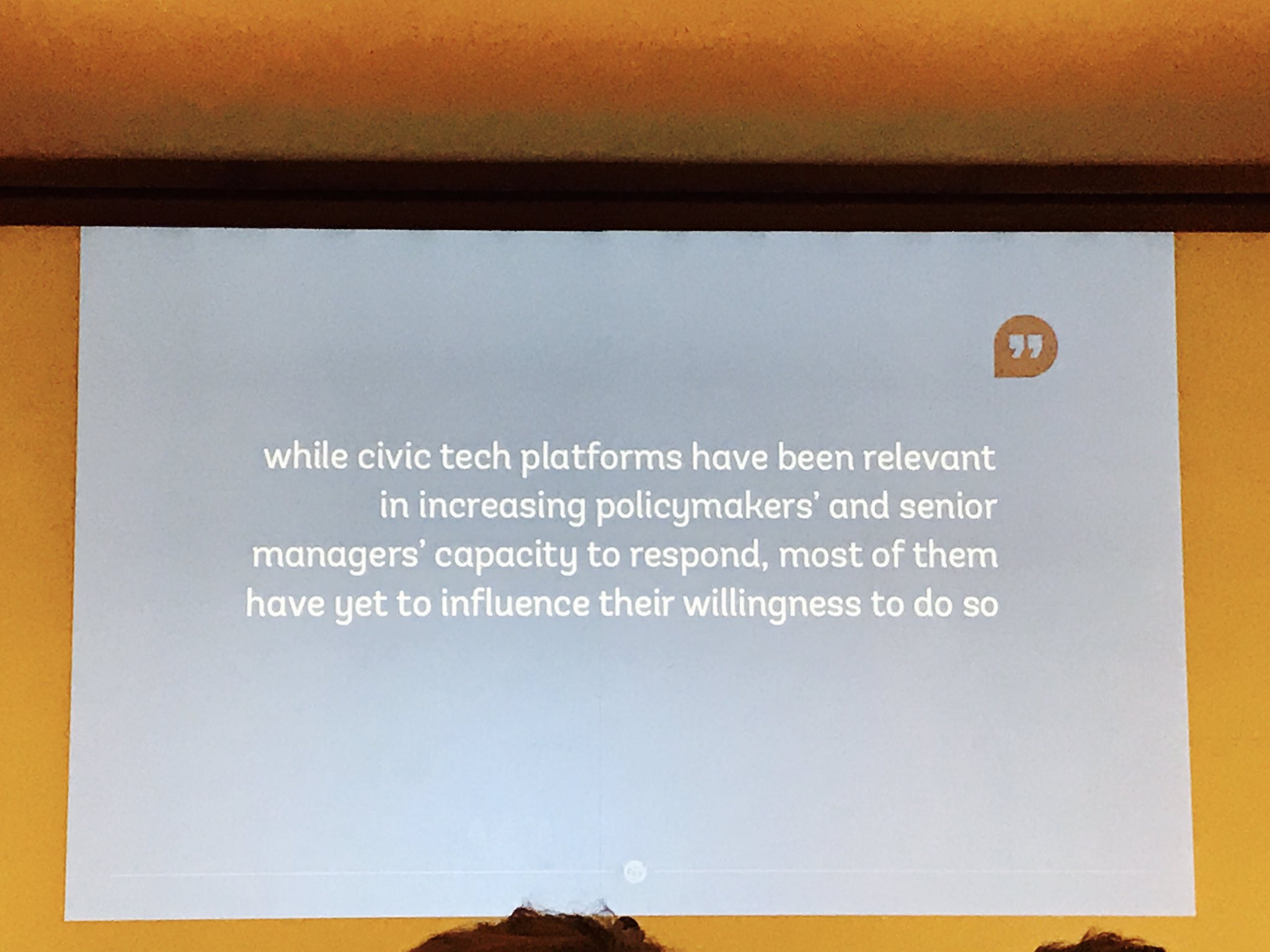 Key point: #civictech has increased Govt managers' capacity to respond but not their willingness @participatory #tictec https://t.co/xmkJV2bKE8
