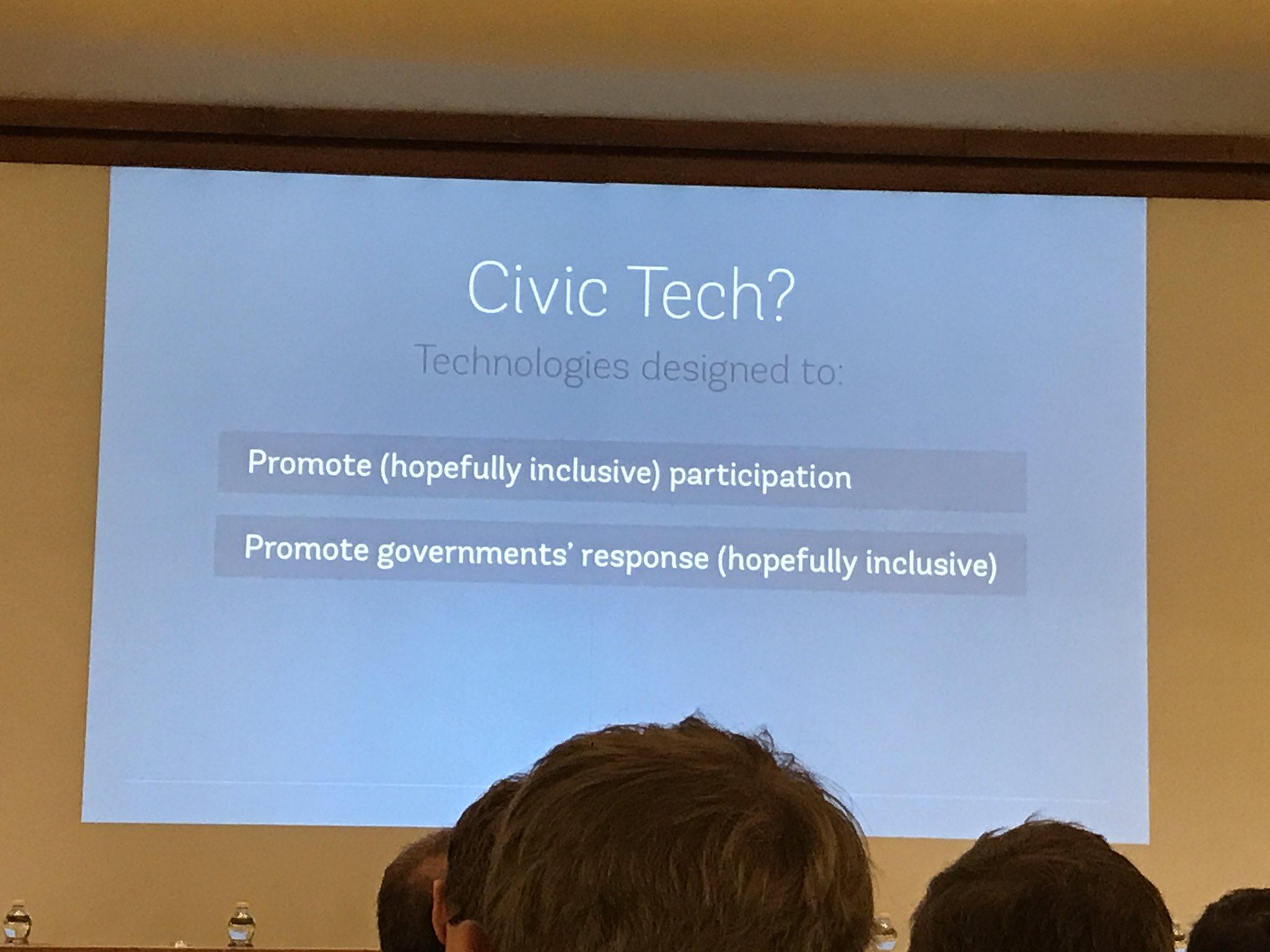 .@participatory defines #civictech as technologies designed to: - promote participation  - promote governments' response #tictec https://t.co/8PpsuHPjs4
