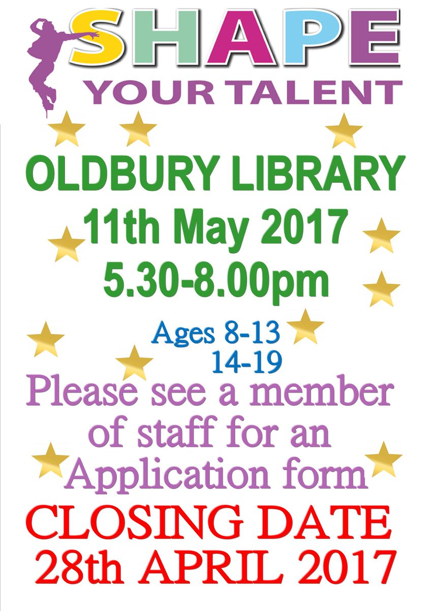 sandwell libraries on twitter pick up an application form from your nearest library auditions oldbury library will be 11 may 530 8pm