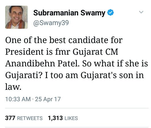 Swamy pitches for Anandiben as Vice President