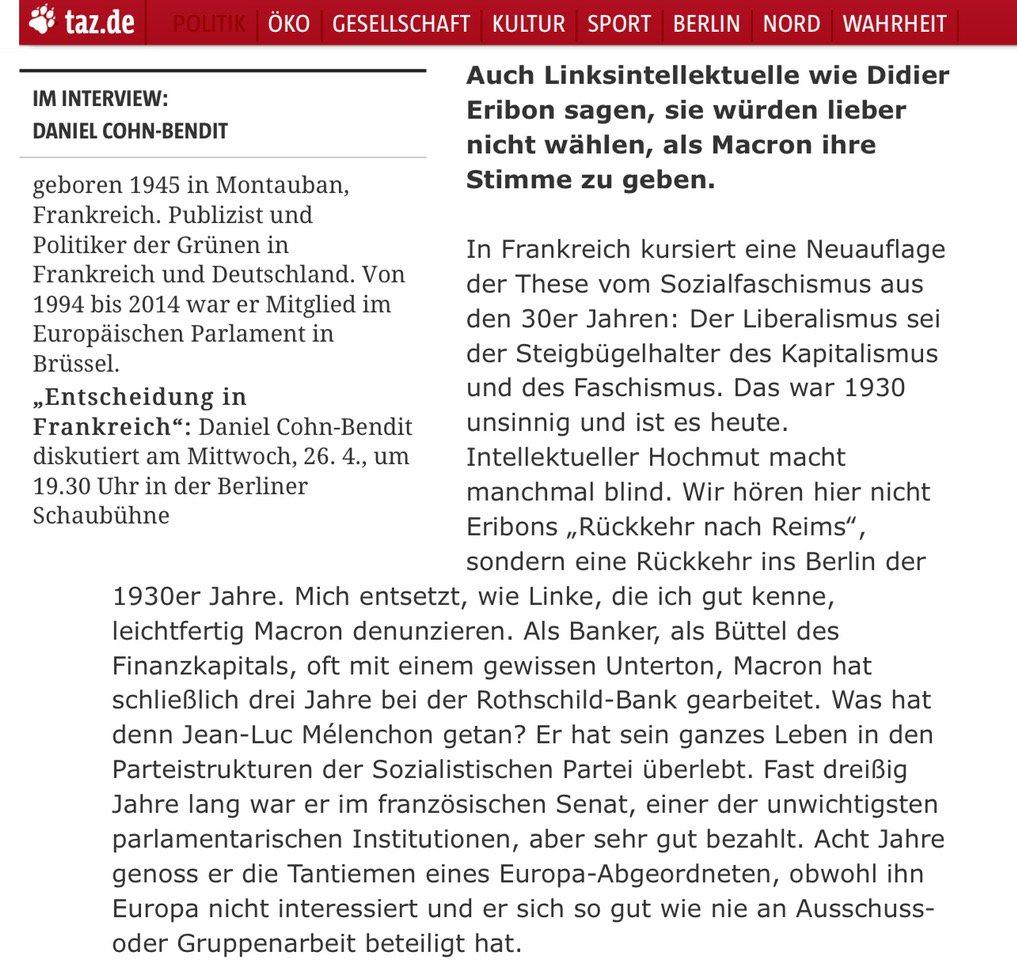Daniel Cohn-Bendit zur heuchlerischen und geschichtsvergessenen Kritik der Linken an #Macron vs. #Melonchon