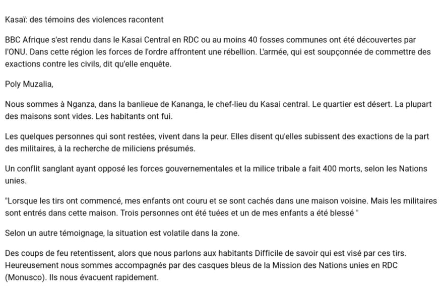 #RDC - #Kasaï: des témoins des violences racontent aux journalistes de #BBC #Afrique. BBC Afrique s'est rendu dans le Kasai Central en RDC pic.twitter.com/CCjsH1tgcb