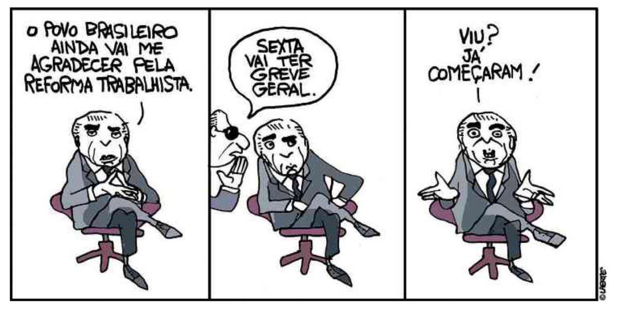 Da cartunista @LaerteCoutinho1 sobre a reforma trabalhista do governo Temer: #GreveGeral