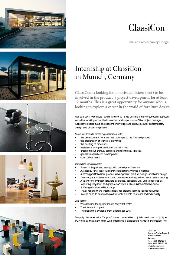 ClassiCon On Twitter INTERNSHIP At Munich Germany In The ProductDevelopment FurnitureDesign More Details Our Website