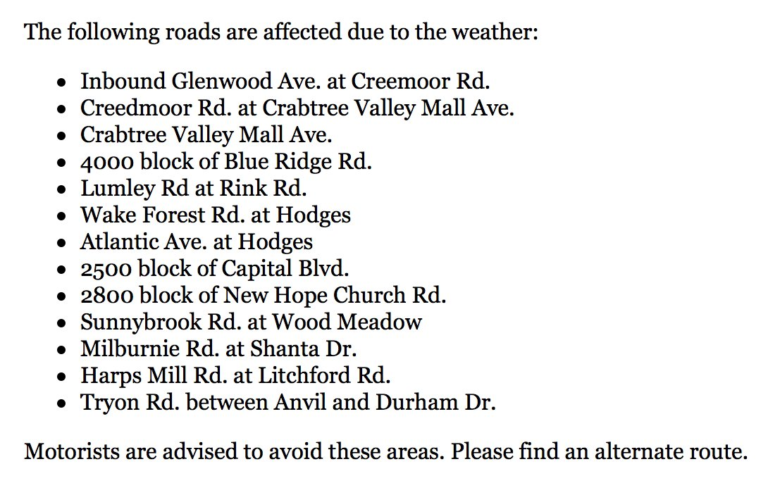 Due to flooding in areas, Raleigh police are asking drivers to avoid these roads. https://t.co/hy3uaAgKNC https://t.co/t1dhRyfnSI