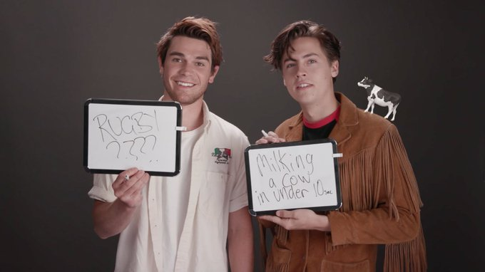 Are Archie and Jughead BFFs IRL? We put @kj_apa and @colesprouse's bromance to the test. 😹🙈 #Riverdale