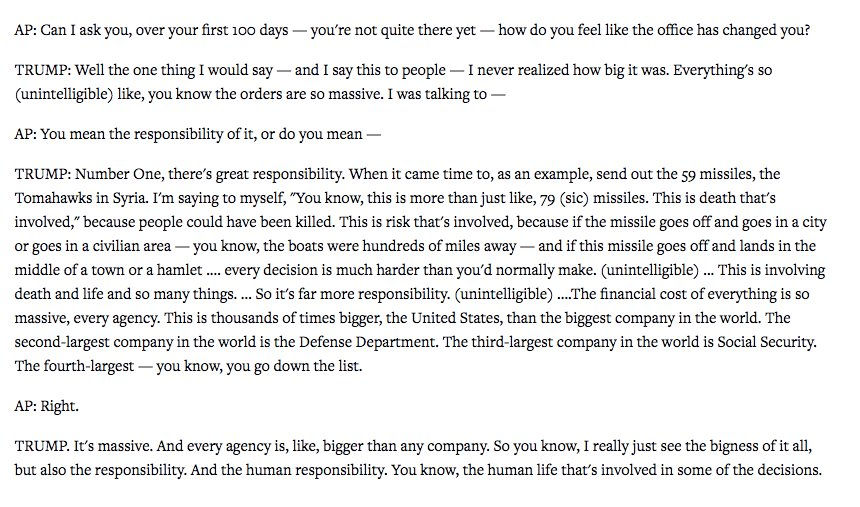 The part of the AP interview where Trump realizes the 'bigness' of the American presidency: