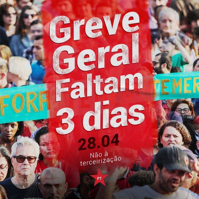 Faltam três dias para a Greve Geral! Dia 28 de abril o Brasil vai parar! Confira a agenda na sua cidade https://t.co/7iuZ7eXvrn