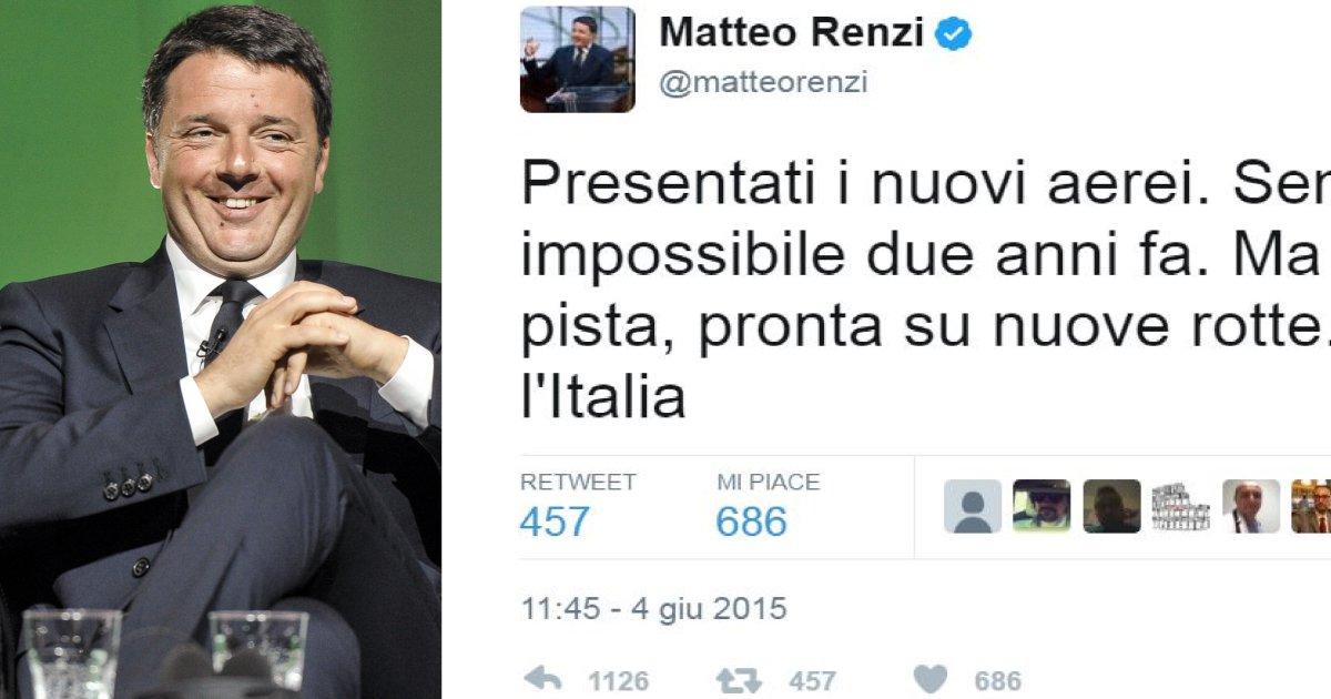 'Allacciate le cinture, Alitalia decolla: piaccia o non piaccia ai gufi'. Così festeggiava due anni fa Renzi https://t.co/zl8qMSvOfW