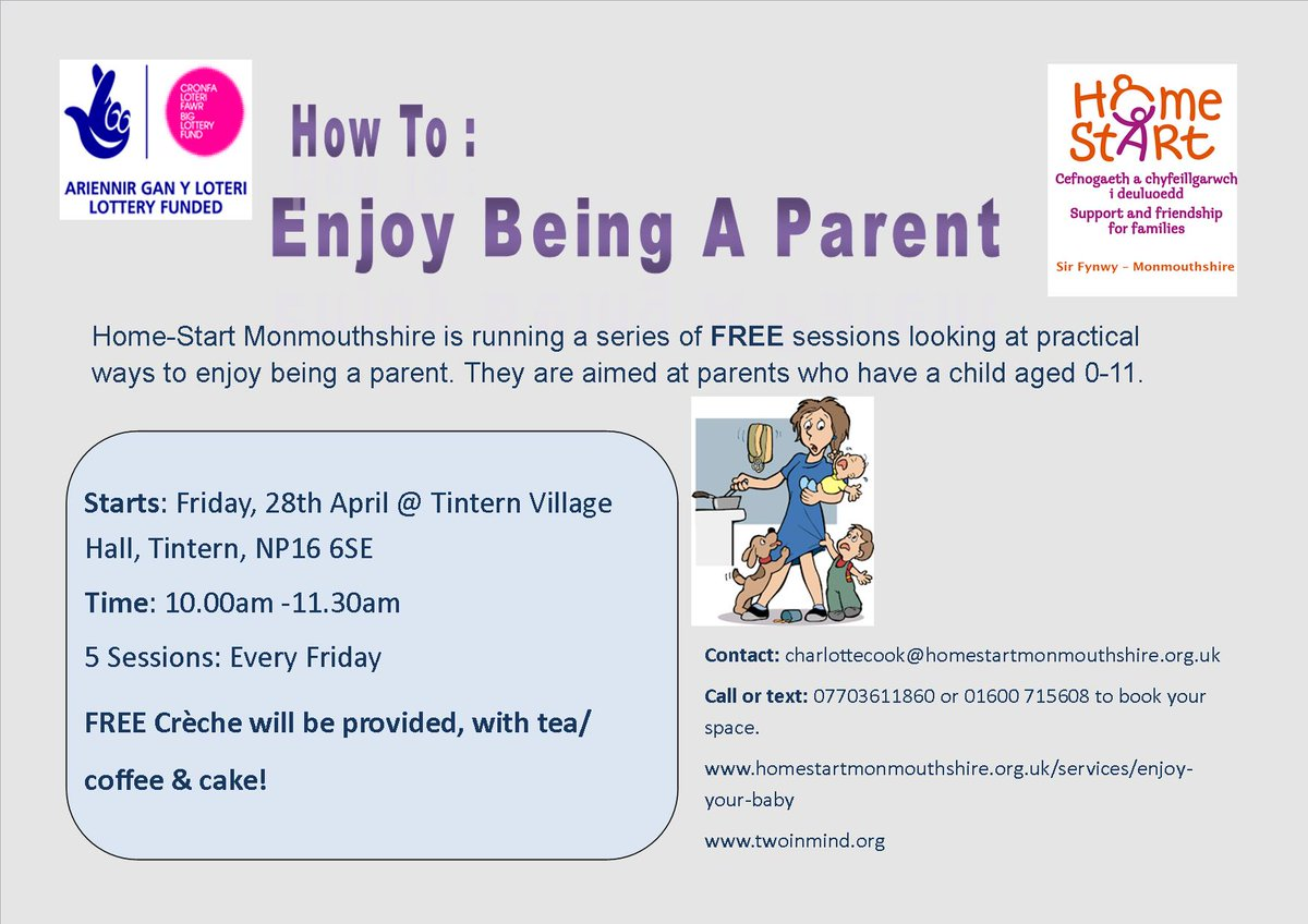 """Mon Home-Start on Twitter: """"#Enjoy being a #parent sessions start this Friday 28th April in #Tintern. We want to welcome as many as possible."""