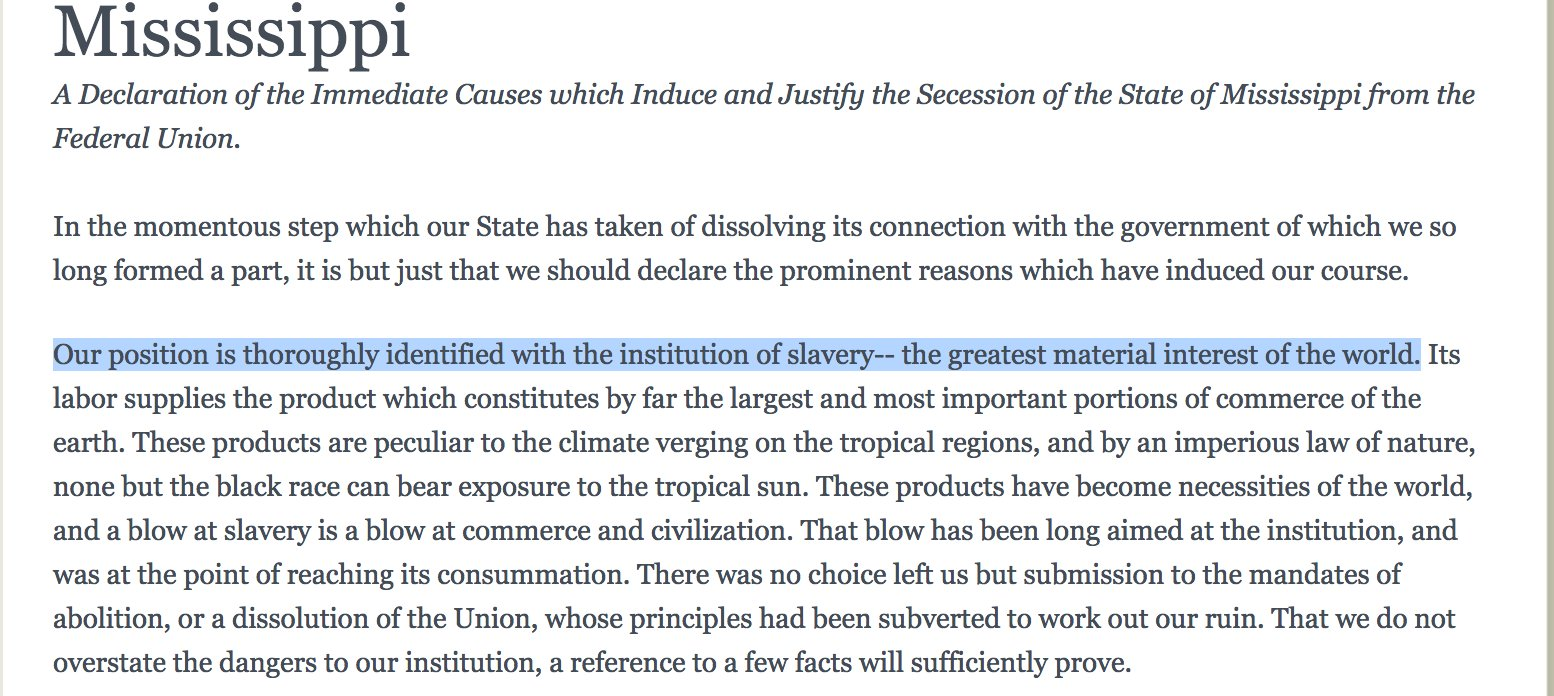 """The southern states said so repeatedly in their declarations of secession & speeches (Stephens Cornerstone etc.) https://t.co/rvb5tP61KS"""""""