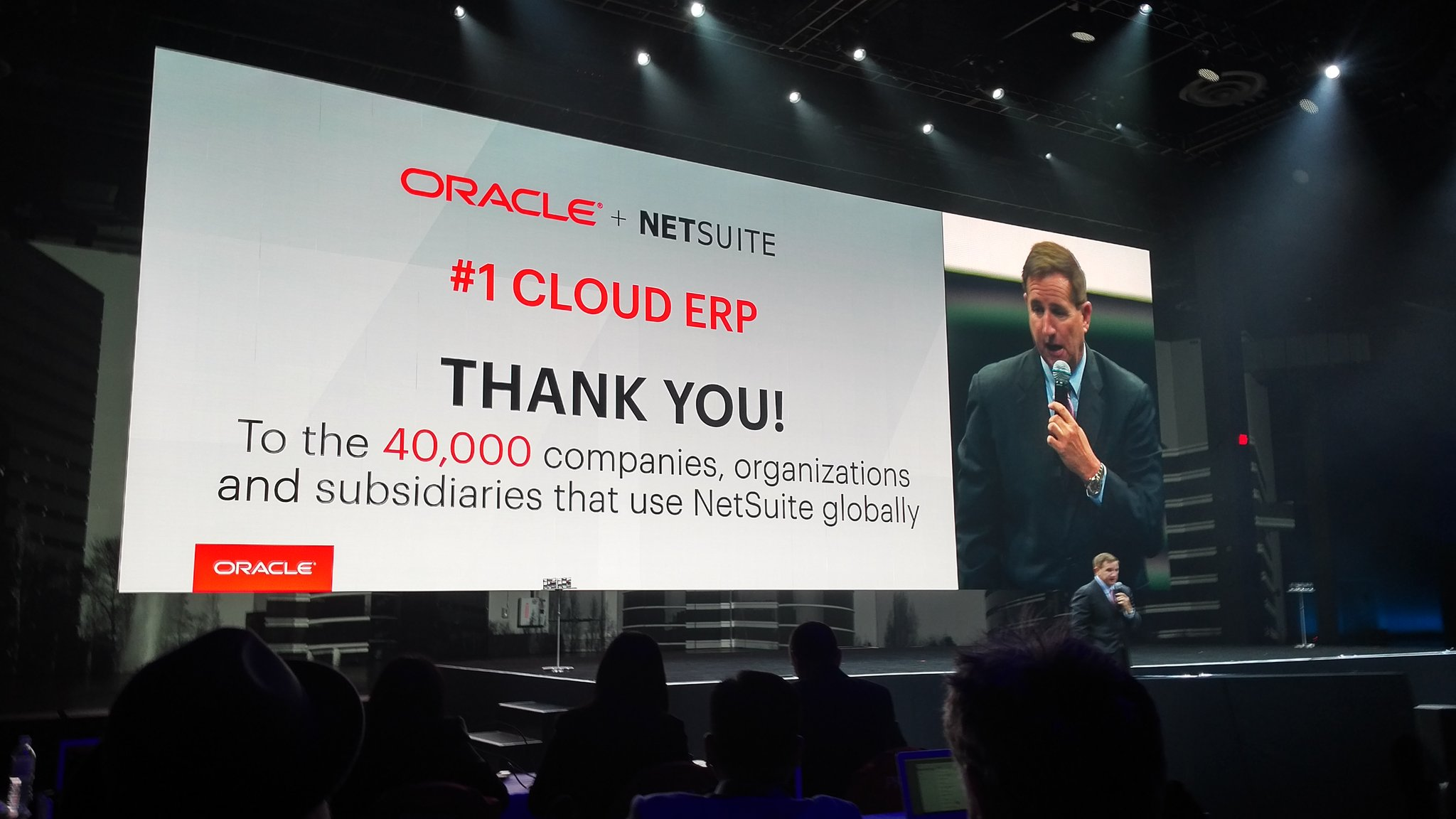 ...and @Oracle @MarkVHurd thank the @NetSuite customers. 40k #SuiteWorld17 https://t.co/2slI031fdB