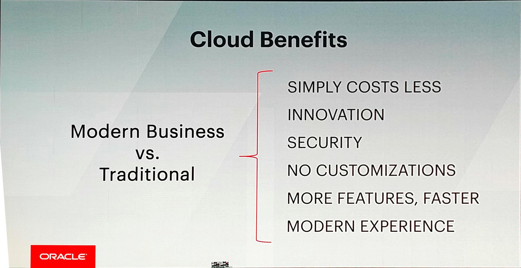 And @MarkVHurd goes over #cloud benefits -  all about lower #TCO. #SuiteWorld17 https://t.co/H814wPG2NT