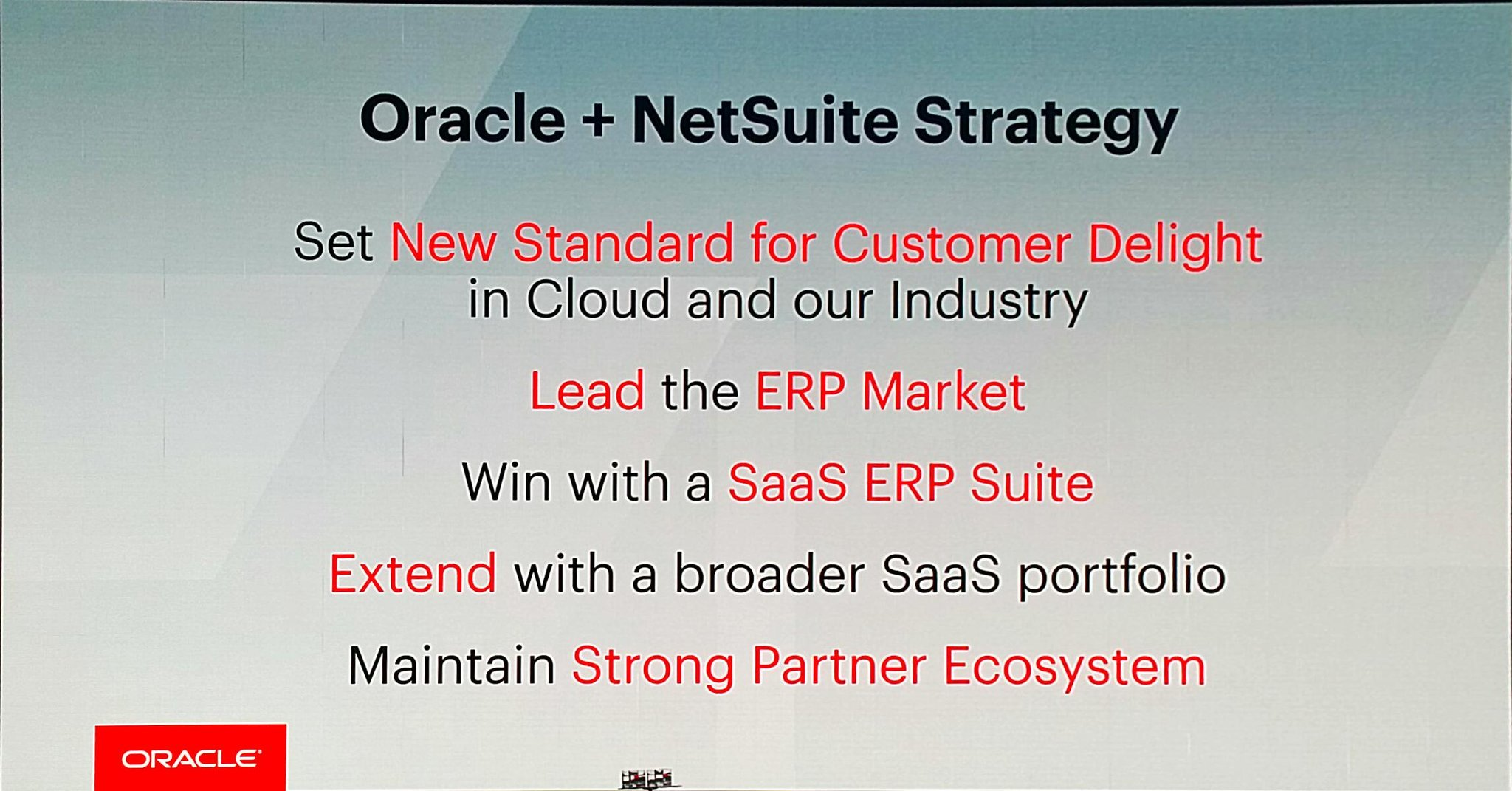 [1Slide] @Oracle and @NetSuite - ERP market leadership stands out. #SuiteWorld17 https://t.co/qebUtWQ5wr