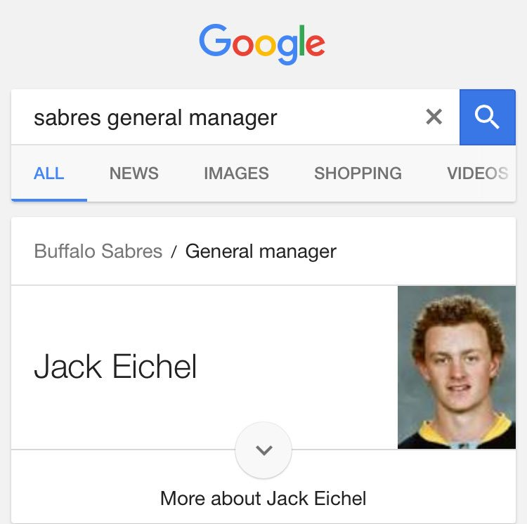 If you google 'Sabres general manager' a picture of Jack Eichel shows...