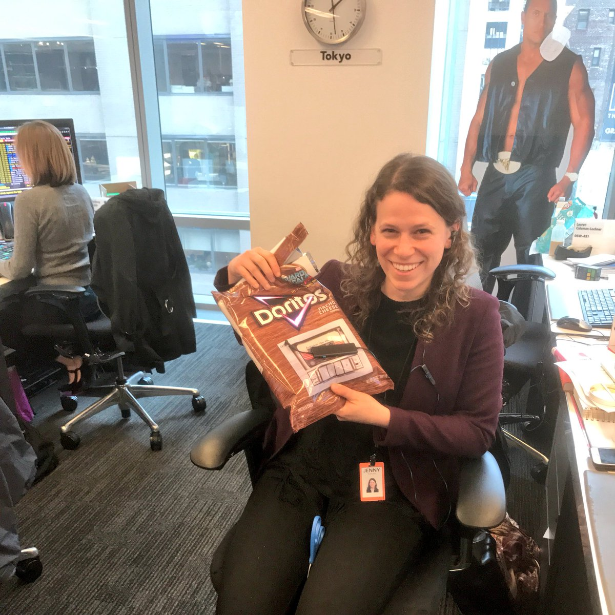.@jennymkaplan listening to a bag of Doritos in the name of food journalism