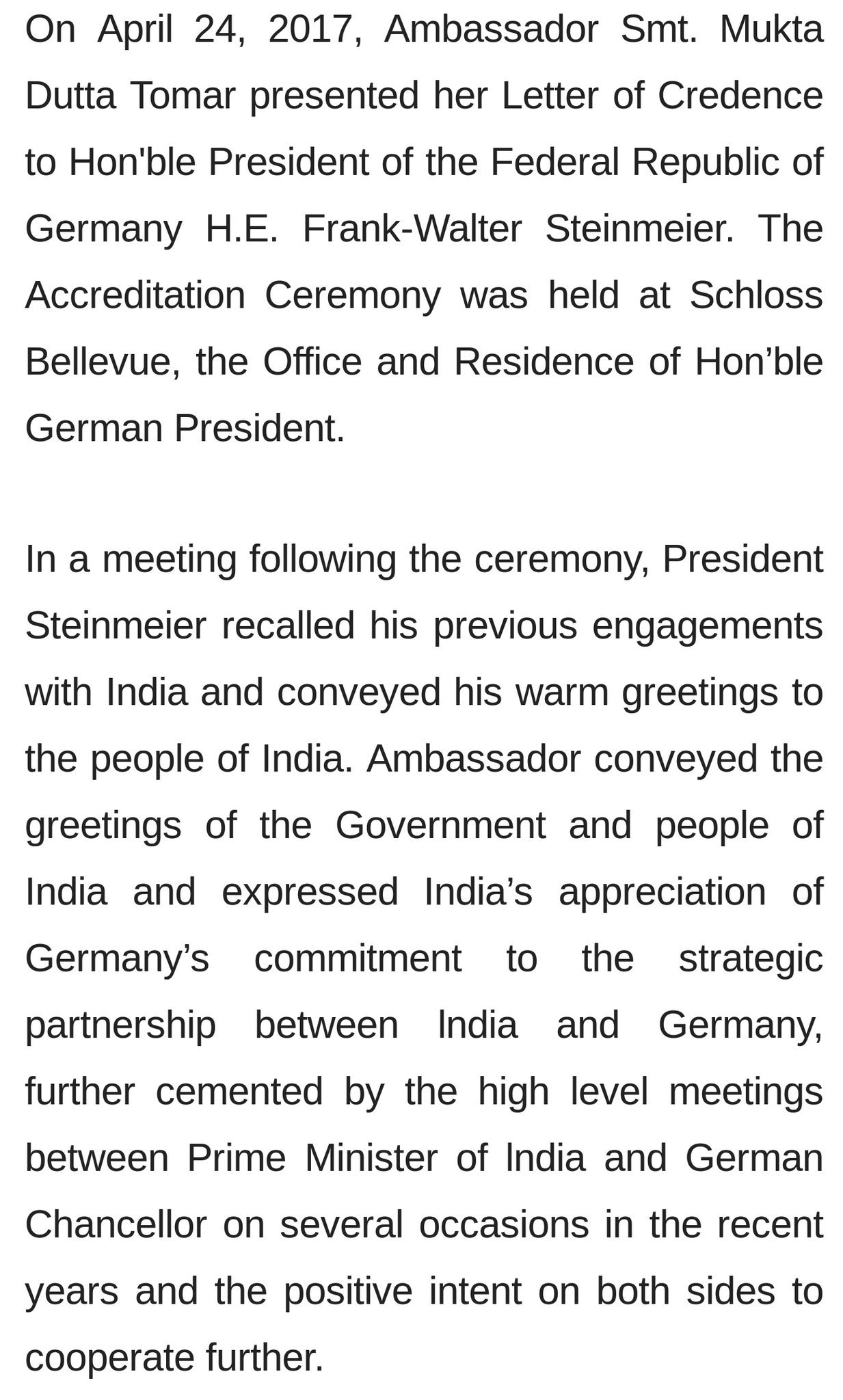 India in germany on twitter ambassador smt mukta dutta tomar india in germany on twitter ambassador smt mukta dutta tomar presented her letter of credence to honble president of the germany he frank walter spiritdancerdesigns Gallery