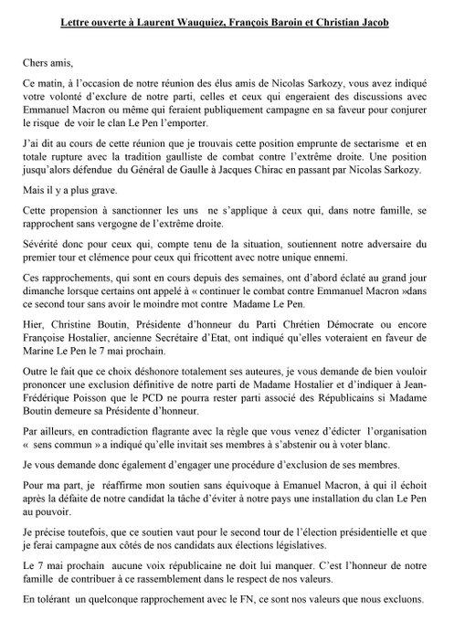En tolérant un rapprochement ac #FN, ce sont nos valeurs que ns excluons. Lettre ouverte à @laurentwauquiez @francoisbaroin Christian Jacob